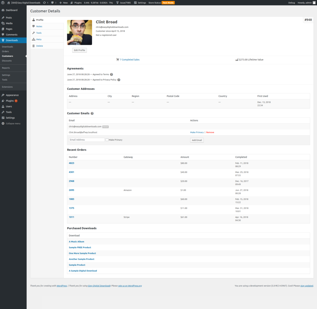 Preview of the Customer Management UI in Easy Digital Downloads 3.0
