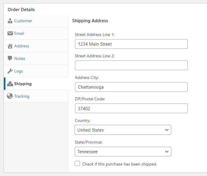 Screenshot of the Shipping order section.