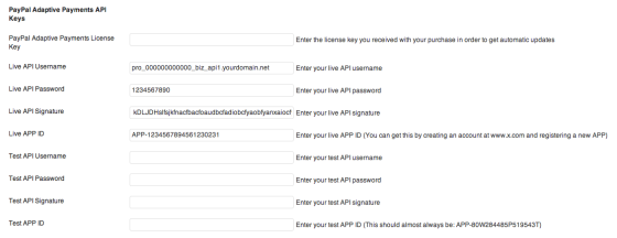 PayPal Adaptive Payments API Keys