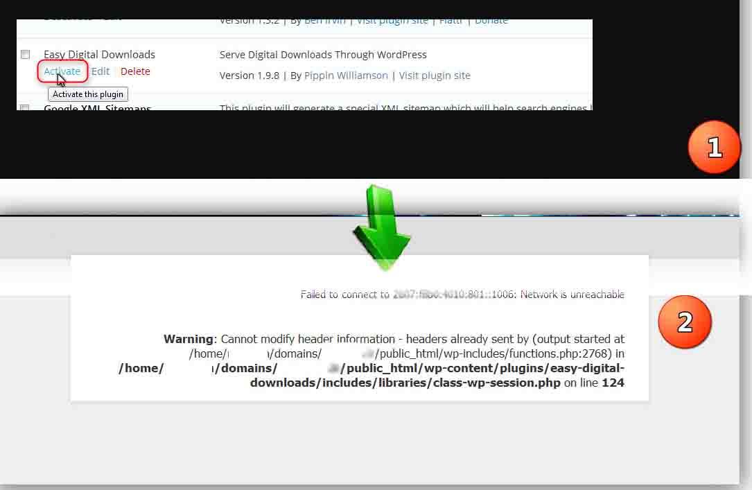 Warning: cannot modify header information