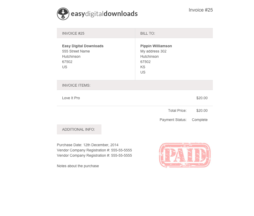 Easy Digital Downloads Invoices Addon
