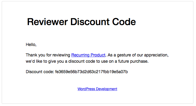Reviewer Discount Code Email