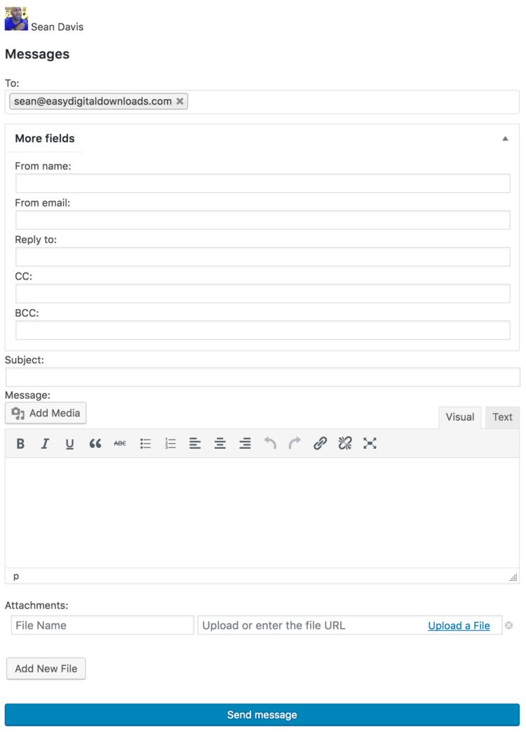 EDD Message send customer an email