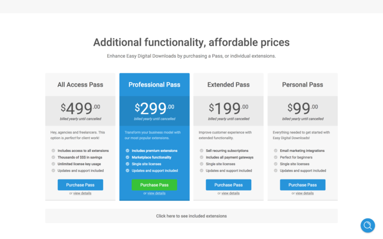 Pricing Tiers (Easy Digital Downloads)