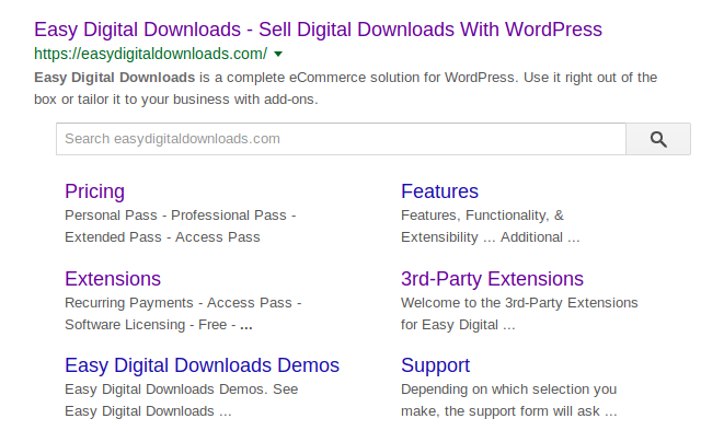 Screenshot of the Easy Digital Downloads in search results.