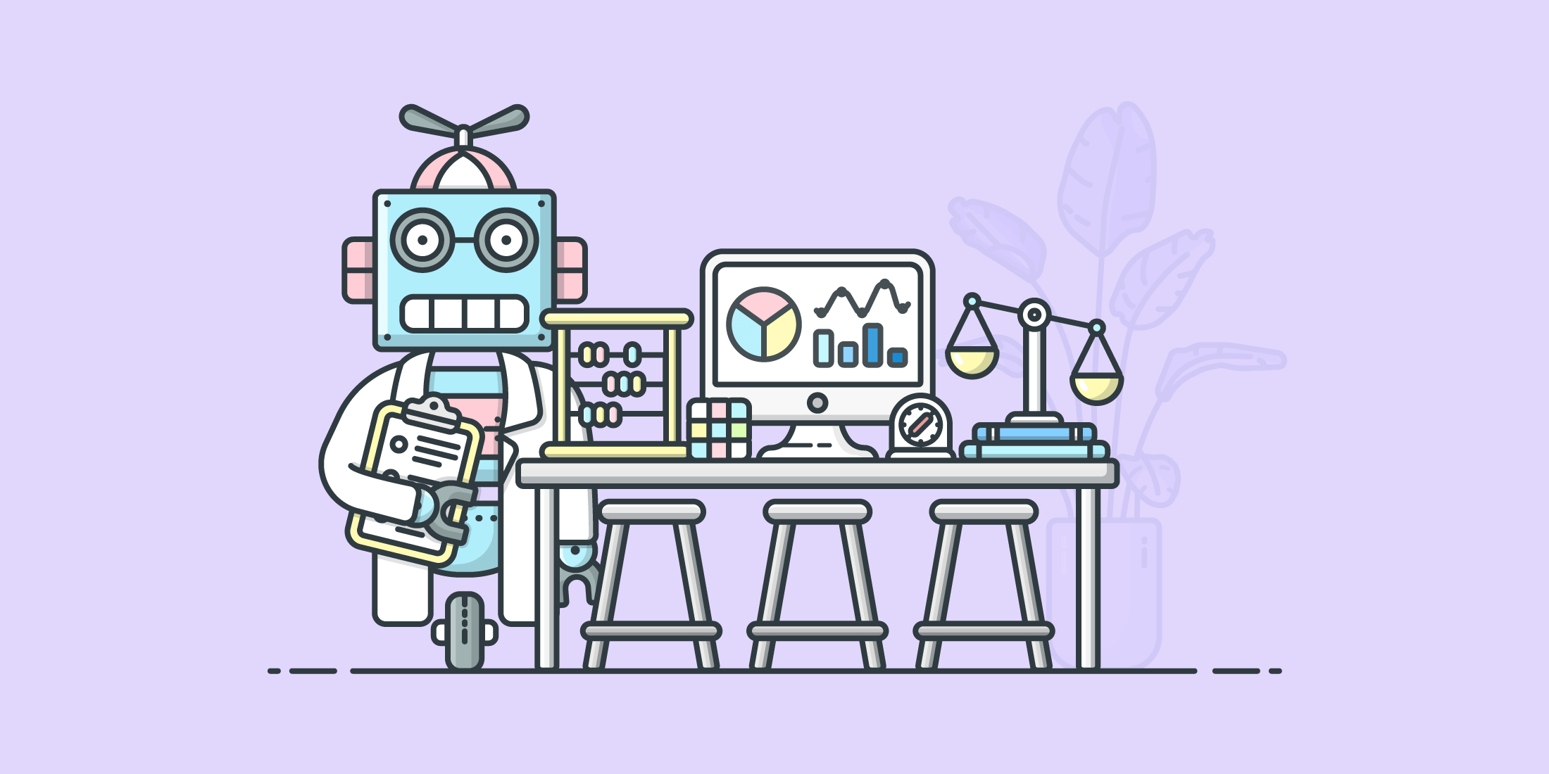 Illustration of a robot with scientific instruments