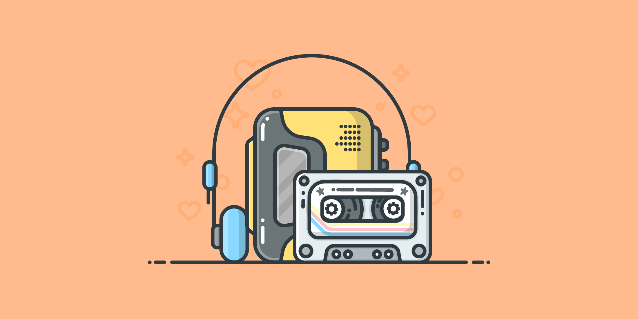 Illustration of a 1980's portable tape player