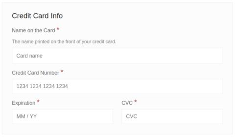 Split credit card fields