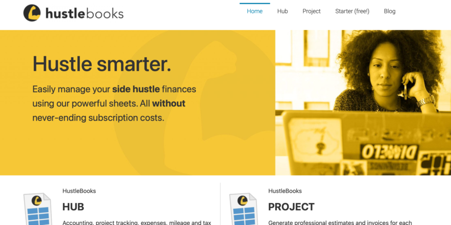 Screenshot - HustleBooks site