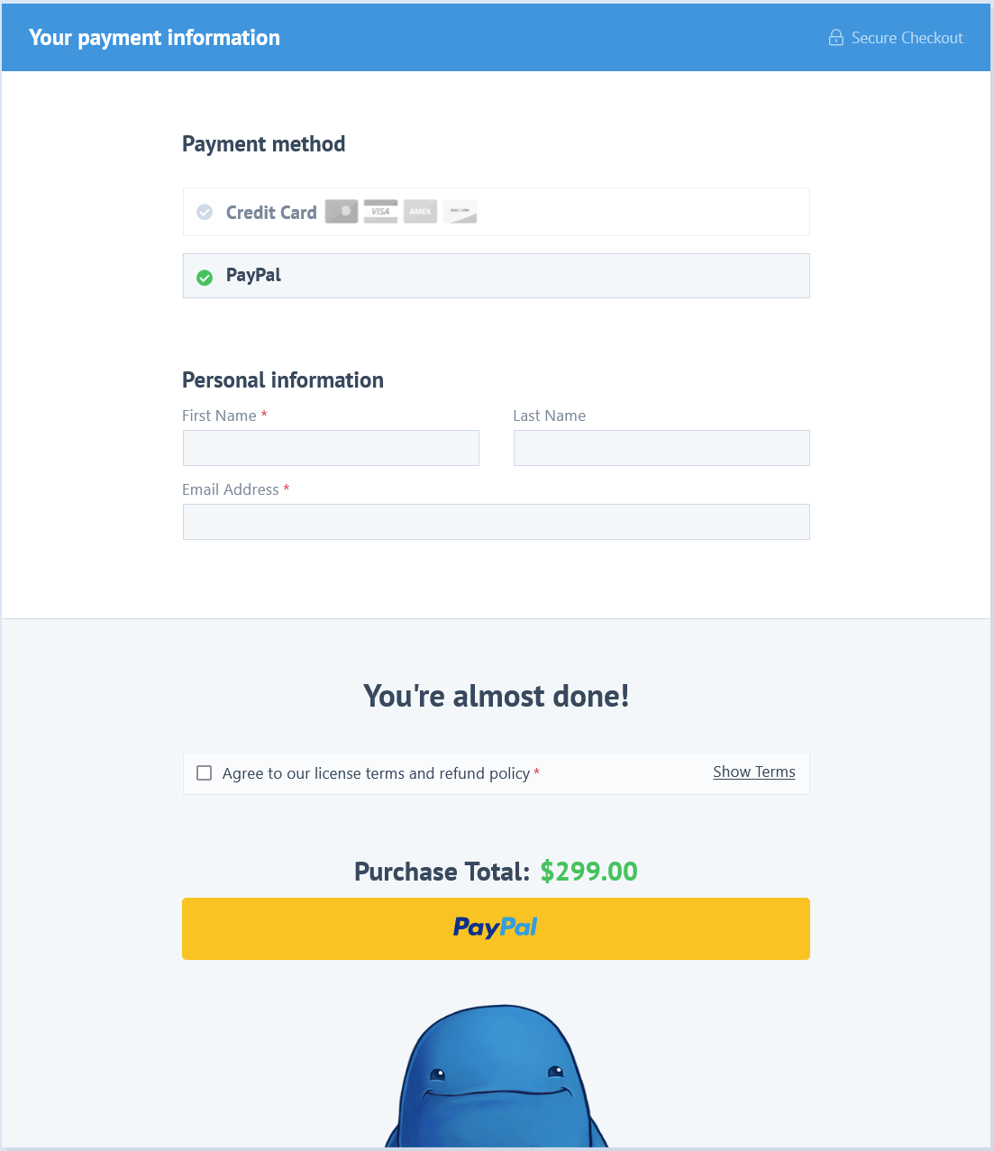 View of the new PayPal branded checkout button on the Easy Digital Downloads site checkout.