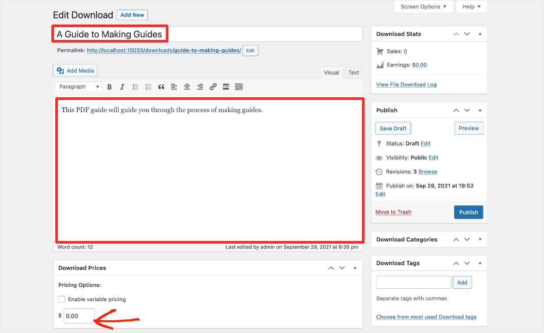Screenshot: configure your lead magnet Download post