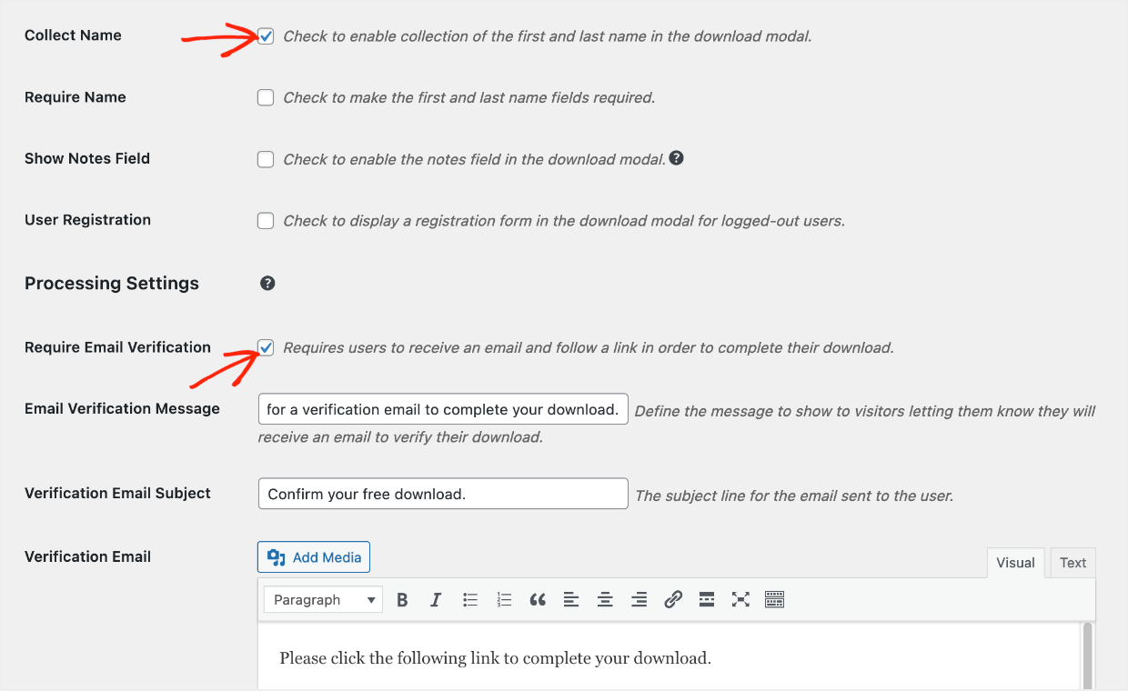 Screenshot: configure Free Downloads settings, require email verification