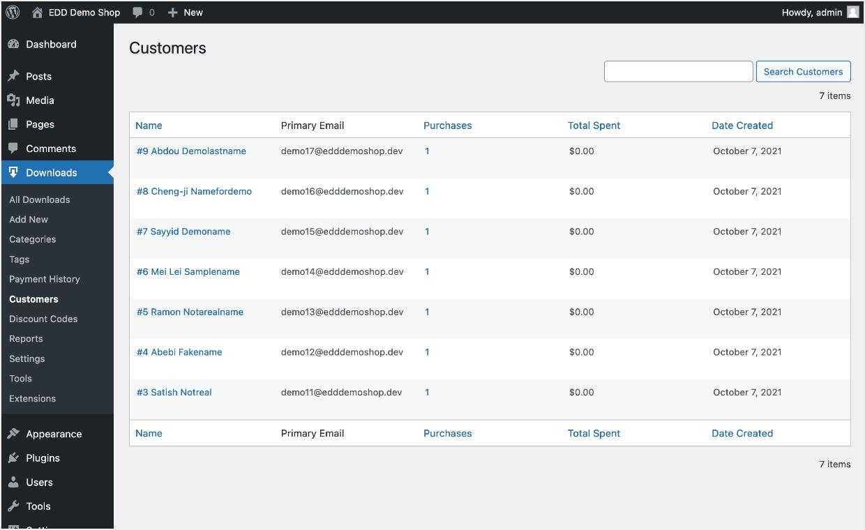 Screenshot: customer list page