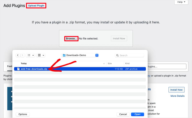 Screenshot: install the Free Downloads plugin