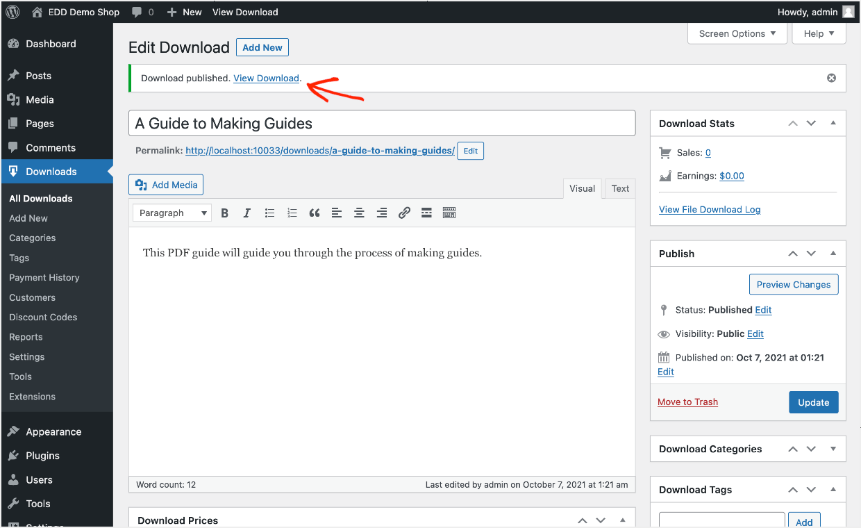 Screenshot: view your lead magnet Download page