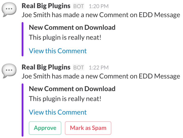 EDD Slack notification with buttons