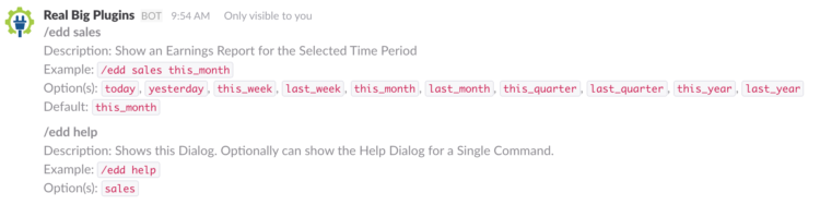 EDD Slack slash commands