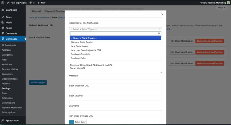 EDD Slack notification configuration screen