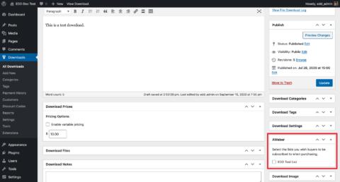 Screenshot - AWeber metabox