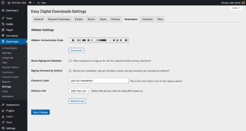 Screenshot - AWeber settings