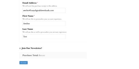 Screenshot - AWeber form front-end